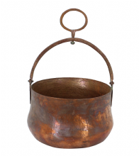 Moroccan Copper Hammam Bucket Vintage Large Antique Hammered Height 18 cm Diameter 26.5 cm CHB2